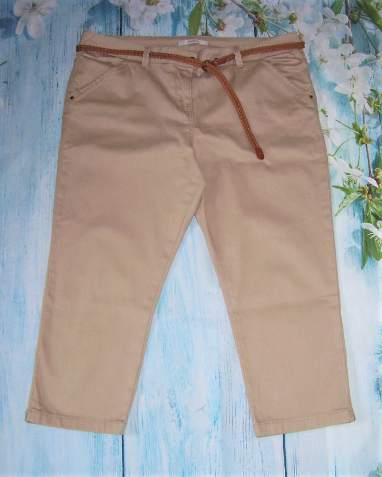 Ladies M/&S Tapered Crop Cotton Stretch Trousers Size 12 Regular Free P/&p Stone